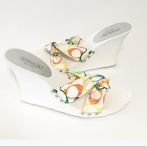 Coach Lina Scribble Wedges Sandals 9.5 white